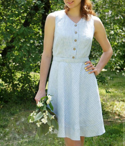 Платья ручной работы. Ярмарка Мастеров - ручная работа. Купить Льняное платье в полоску. Handmade. Голубой, льняное платье