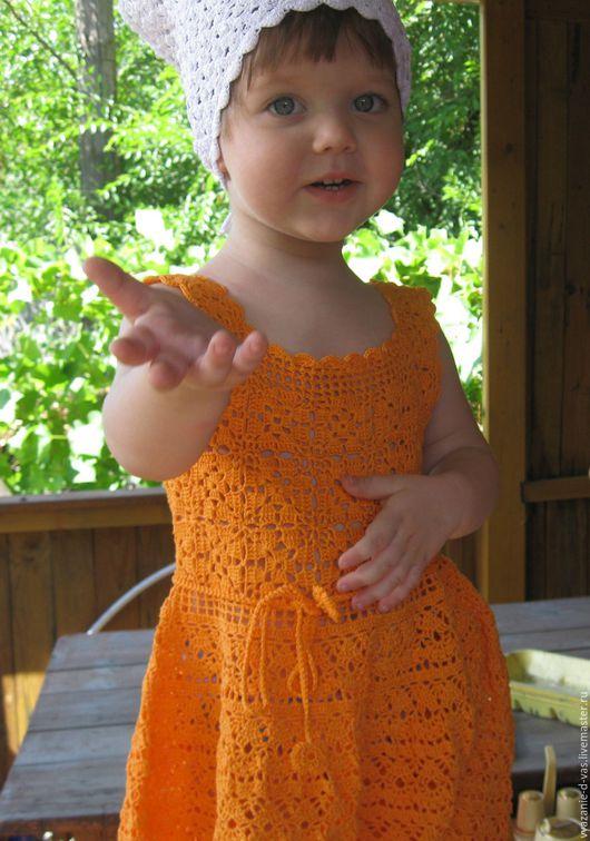 Одежда для девочек, ручной работы. Ярмарка Мастеров - ручная работа. Купить Платье сарафан вязаное для девочки крючком  нарядное  Мамино солнышко. Handmade.