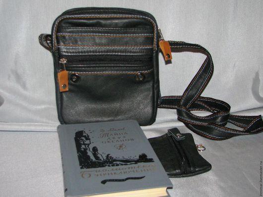 Спортивные сумки ручной работы. Ярмарка Мастеров - ручная работа. Купить Кожаная сумка -планшет с контрастной отстрочкой. Handmade. молния