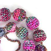 Бусы ручной работы. Ярмарка Мастеров - ручная работа Бусы: Бусы из вязанных и текстильных бусин. Handmade.