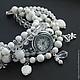 """Часы ручной работы. Ярмарка Мастеров - ручная работа. Купить """"Белая сирень"""" (агат, перламутр) - часы-браслет. Handmade. Белый"""