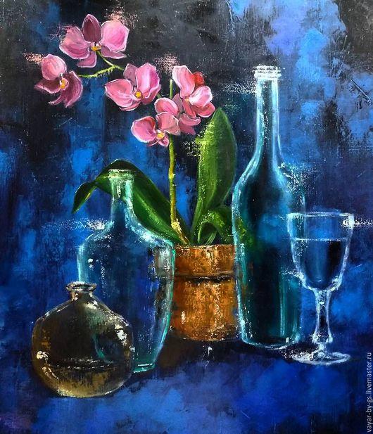 """Натюрморт ручной работы. Ярмарка Мастеров - ручная работа. Купить """"Натюрморт с орхидеей"""". Handmade. Тёмно-синий, стекло, красивый подарок"""
