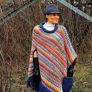 Одежда ручной работы. Ярмарка Мастеров - ручная работа Пончо БОХО из толстой пряжи (83). Handmade.
