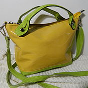 Сумки и аксессуары handmade. Livemaster - original item Leather bag. Crossbody bag. Yellow with light green. Handmade.