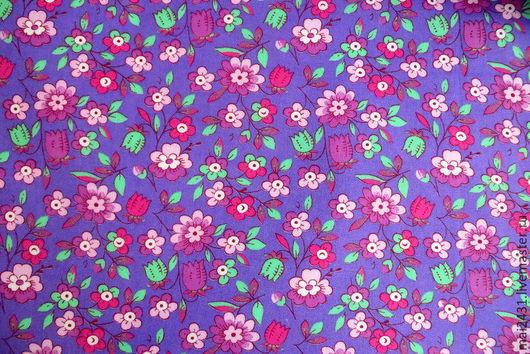 Ткань хлопок фиолетовый с цветочками
