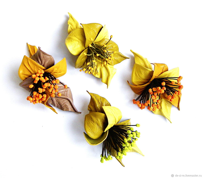 Жёлтая брошь для позитива для настроения Жёлтый цветок, Брошь-булавка, Москва,  Фото №1