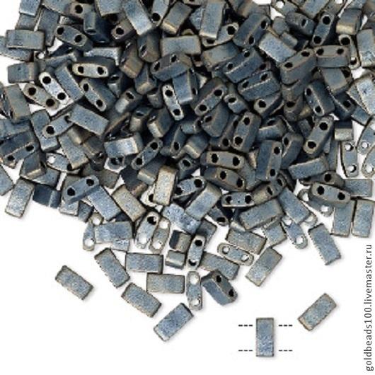 Для украшений ручной работы. Ярмарка Мастеров - ручная работа. Купить MIYUKI Half-Tila 2002 opaque matte metallic silver grey. Handmade.