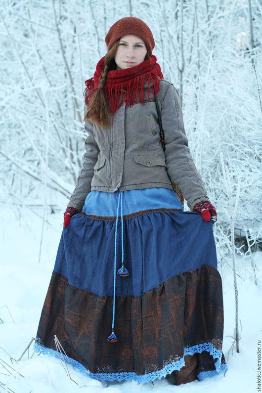 Льняная юбка в пол, ярусная юбка, длинная льняная юбка, юбки и платья ручной работы, автор Юлия Льняная сказка