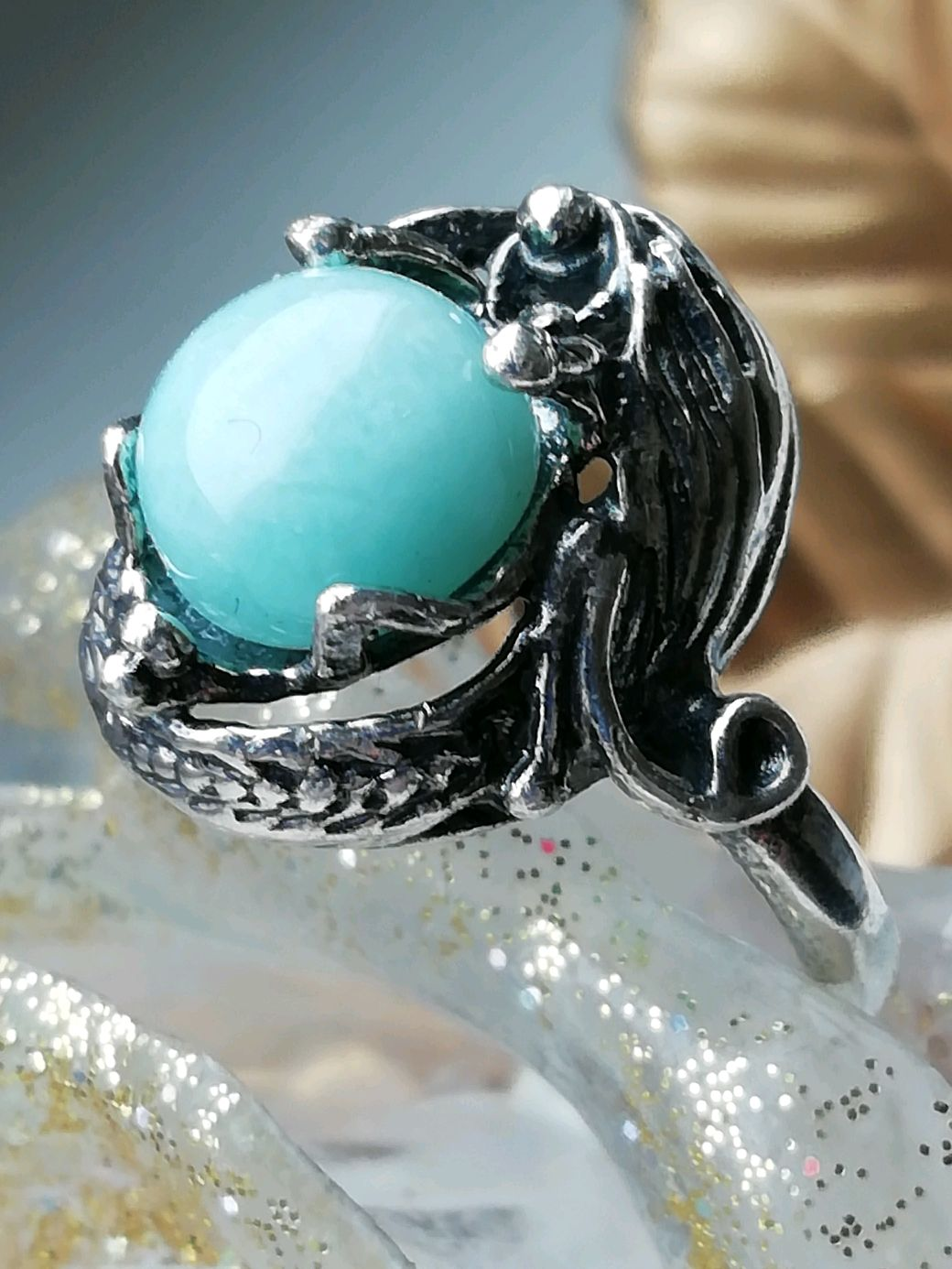 Ring with natural amazonite ' MELODY of LOVE', Rings, Moscow,  Фото №1