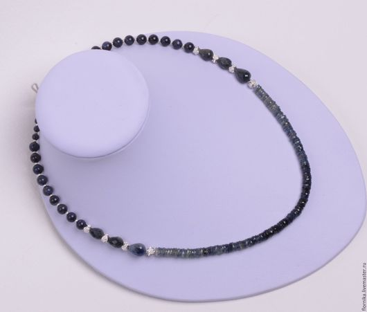 """Колье, бусы ручной работы. Ярмарка Мастеров - ручная работа. Купить Ожерелье из сапфира """"Океан"""". Handmade. Тёмно-синий"""