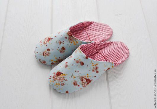 """Обувь ручной работы. Ярмарка Мастеров - ручная работа. Купить Тапочки """"Прованс"""". Handmade. Голубой, кантри, необычный подарок"""
