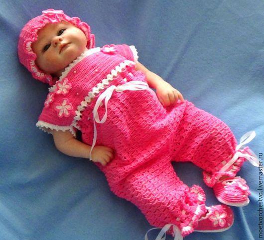 Одежда ручной работы. Ярмарка Мастеров - ручная работа. Купить Комплект летний ажурный на девочку из хлопка. Handmade. Розовый