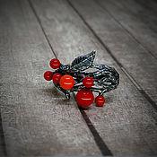 """Украшения ручной работы. Ярмарка Мастеров - ручная работа Серебряное кольцо с  кораллом """"Berries"""". Handmade."""