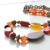 Украшения handmade. Livemaster - original item SCARLET AUTUMN long beads. Handmade.