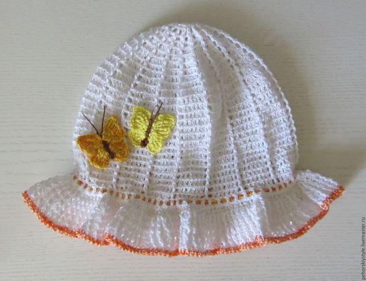 Шапки и шарфы ручной работы. Ярмарка Мастеров - ручная работа. Купить Вязаная шляпка - панама для девочки. Handmade. Ручная работа
