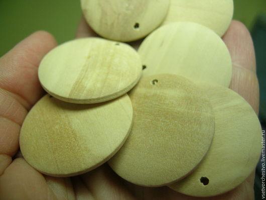 Для украшений ручной работы. Ярмарка Мастеров - ручная работа. Купить Подвеска, медальон из дерева. 30мм. Handmade. Бежевый, дерево