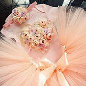 Работы для детей, ручной работы. Ярмарка Мастеров - ручная работа Цветочное сердце - комплект юбка, повязка, боди. Handmade.