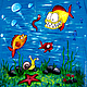 """Футболки, майки ручной работы. Ярмарка Мастеров - ручная работа. Купить Футболка """"РРыбки"""". Handmade. Рыба, море, синий, рисунок"""