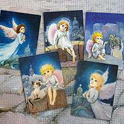 Открытки handmade. Livemaster - original item Angel and St. Petersburg Set of 5 cards for Christmas or birthday. Handmade.
