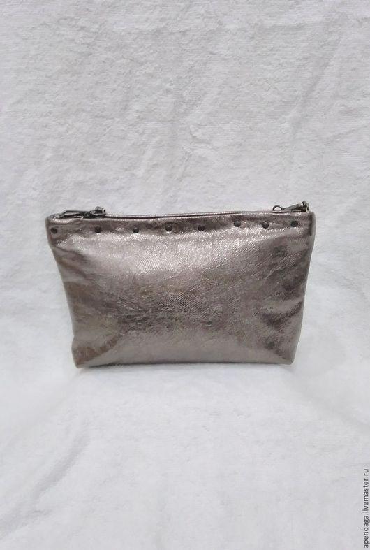 """Женские сумки ручной работы. Ярмарка Мастеров - ручная работа. Купить Сумочка """"Блеск"""",кожаная сумка,вечерняя,темно-серая,блестящая,бронза. Handmade."""