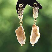 Украшения handmade. Livemaster - original item Earrings Golden Fish with Golden Baroque natural pearls. Handmade.