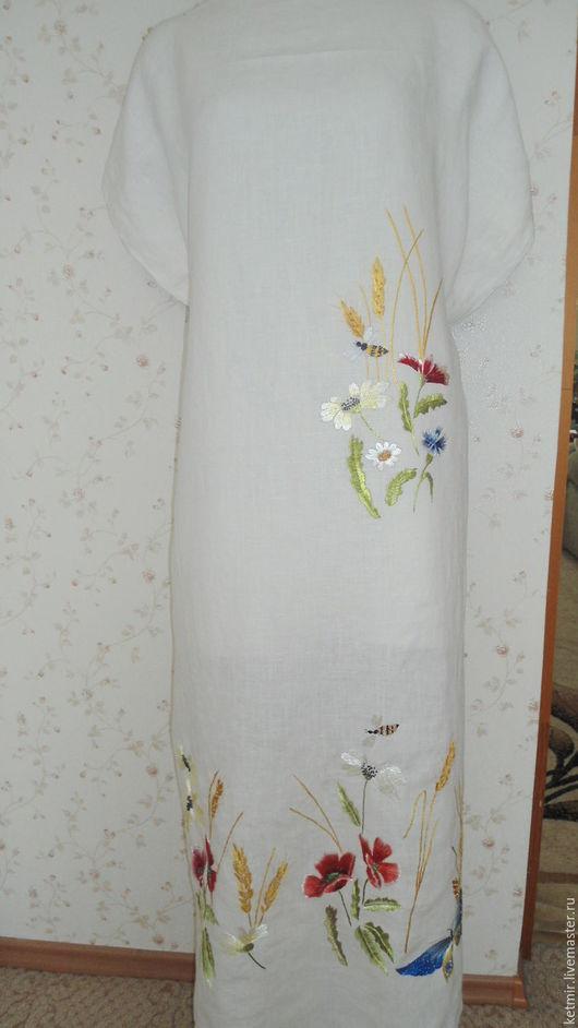 Платья ручной работы. Ярмарка Мастеров - ручная работа. Купить вышитая шелком заготовка на  платье ( лен). Handmade. Белый