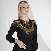 Одежда handmade. Livemaster - original item Black long dress with scarf Pavloposad. Handmade.