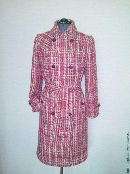 """Верхняя одежда ручной работы. Ярмарка Мастеров - ручная работа. Купить Пальто-тренч """"Рябиновое"""".. Handmade. Клетчатая ткань, паты"""