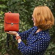 Сумки и аксессуары handmade. Livemaster - original item Red Dragon leather and wood mini backpack. Handmade.
