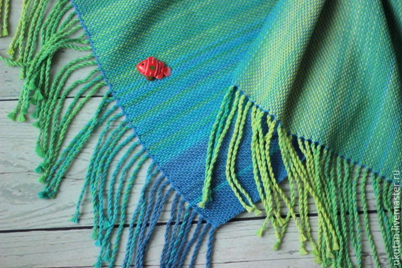 """Шарфы и шарфики ручной работы. Ярмарка Мастеров - ручная работа. Купить Домотканый шарф """"Мальдивы"""". Handmade. Ткачество, морская тема"""