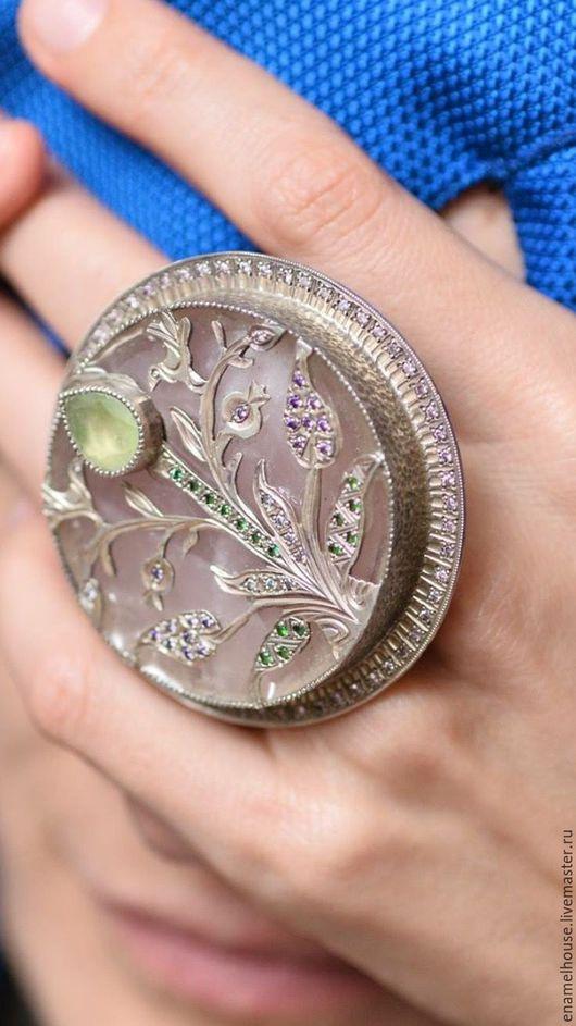Кольца ручной работы. Ярмарка Мастеров - ручная работа. Купить Кольцо из серебра с розовым кварцем, зеленым аметистом и цирконами. Handmade.