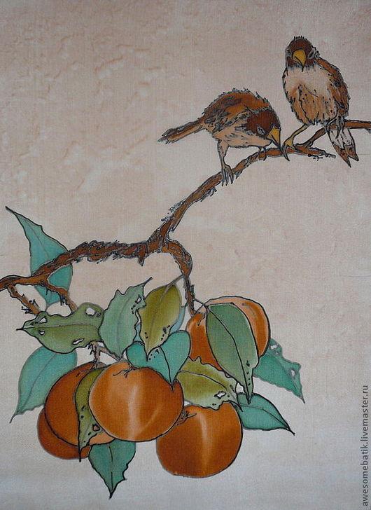 Животные ручной работы. Ярмарка Мастеров - ручная работа. Купить Панно батик Воробьи и апельсины. Handmade. Панно, Батик, птицы