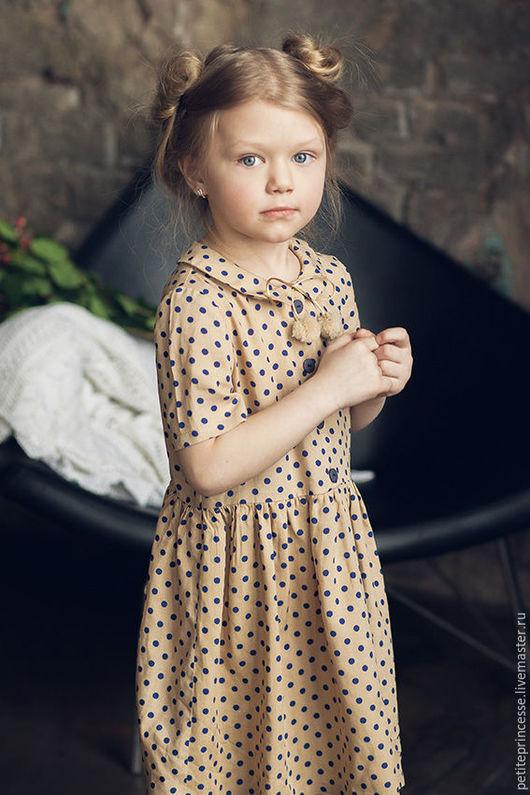 """Одежда для девочек, ручной работы. Ярмарка Мастеров - ручная работа. Купить платье """"Грета"""". Handmade. Бежевый, платье, Пумпоны"""