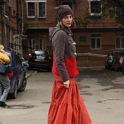 """Одежда ручной работы. Ярмарка Мастеров - ручная работа Юбка на каждый день """"Джинсовая"""" терракотовая. Handmade."""