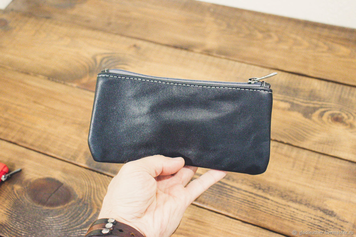 Black leather cosmetic bag, Beauticians, Volzhsky,  Фото №1