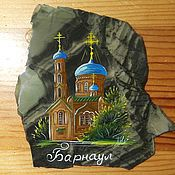 Сувениры и подарки handmade. Livemaster - original item Painting on stone Barnaul Magnet stone series City. Handmade.