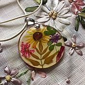 Украшения handmade. Livemaster - original item Round-shaped pendent flowers,jewelry resin decoration. Handmade.