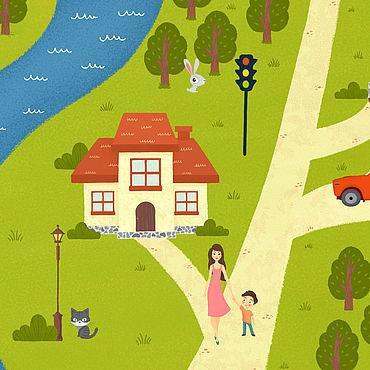 Дизайн и реклама ручной работы. Ярмарка Мастеров - ручная работа Иллюстрация-карта. Handmade.
