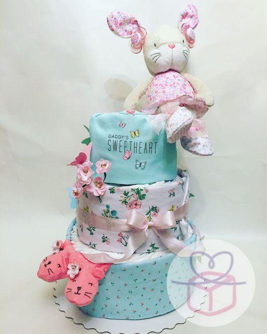 """Подарки для новорожденных, ручной работы. Ярмарка Мастеров - ручная работа. Купить Торт из подгузников """"Sweetheart"""". Handmade. Мятный, тортик из подгузников"""