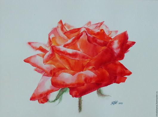 Интерьерные слова ручной работы. Ярмарка Мастеров - ручная работа. Купить Картина Rose3. Handmade. Красный, акварельная картина, роза