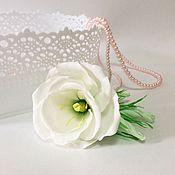 Свадебные букеты ручной работы. Ярмарка Мастеров - ручная работа Эутома из фоамирана. Свадебный букет. Белые цветы Гребень Заколка. Handmade.