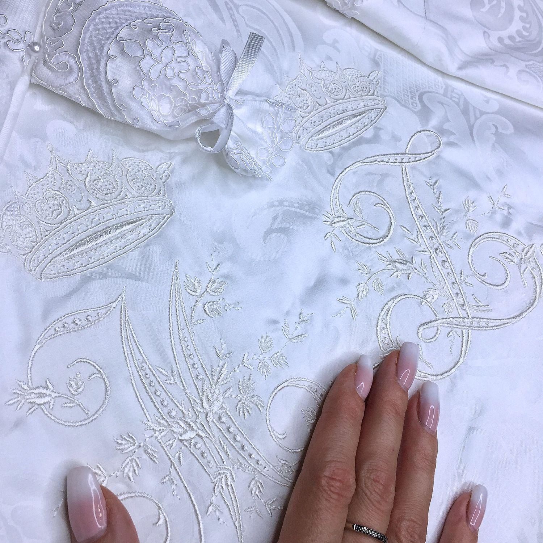 Свадебное белое постельное белье с кружевом и жемчугом, Подарки, Самара,  Фото №1