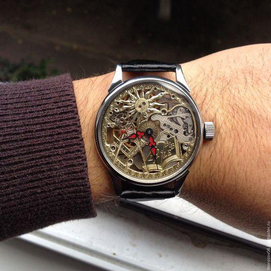 Часы ручной работы. Ярмарка Мастеров - ручная работа. Купить Часы ручной работы. Молния скелетон 4. Handmade. Серебряный