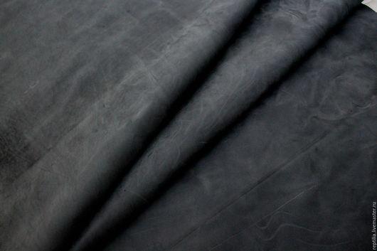 """Шитье ручной работы. Ярмарка Мастеров - ручная работа. Купить Натуральная кожа КРС Crazy horse """"Темный серый"""". Handmade."""