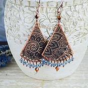 Украшения handmade. Livemaster - original item Copper earrings in Oriental style Indian earrings ethnic Blue. Handmade.