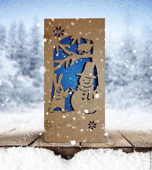 Деревянные открытки `С новым годом!`