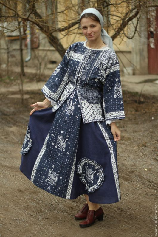 Платья ручной работы. Ярмарка Мастеров - ручная работа. Купить Народный  комплект для города. Handmade. Тёмно-синий, летний костюм