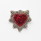 Украшения handmade. Livemaster - original item Brooch Heart in the ice of the red bead. Handmade.