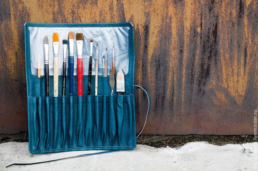 Пеналы ручной работы. Ярмарка Мастеров - ручная работа. Купить Пенал для кистей или вязальных спиц. Handmade. Тёмно-синий