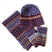 Аксессуары handmade. Livemaster - original item Accessories set hat, scarf, mittens, knitted jacquard half-wool. Handmade.